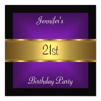 21st birthday Party Purple Gold 5.25x5.25 Square Paper Invitation Card