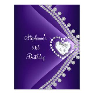 21st Birthday Party Purple Heart Diamond Jewel Card