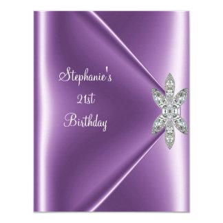 21st Birthday Party Purple Mauve Diamond Jewel 4.25x5.5 Paper Invitation Card