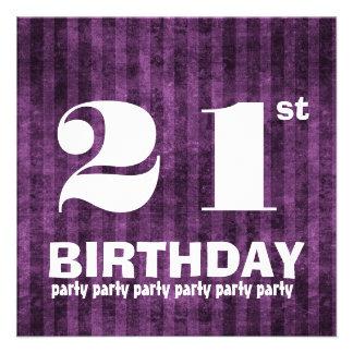 21st Birthday Party Purple Stripes W1083 Custom Announcements