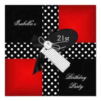 21st Birthday Party Red Polka Dot Black White Invitation