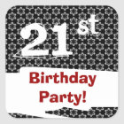 21st Birthday Party Red White Black W1980 Square Sticker
