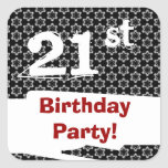 21st Birthday Party Red White Black W1980 Stickers