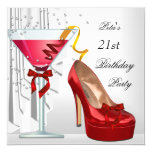 21st Birthday Party Red White Cocktail Shoe Card
