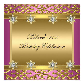 21st Birthday Party Rich Pink Elegant Ornate Gold Invitation
