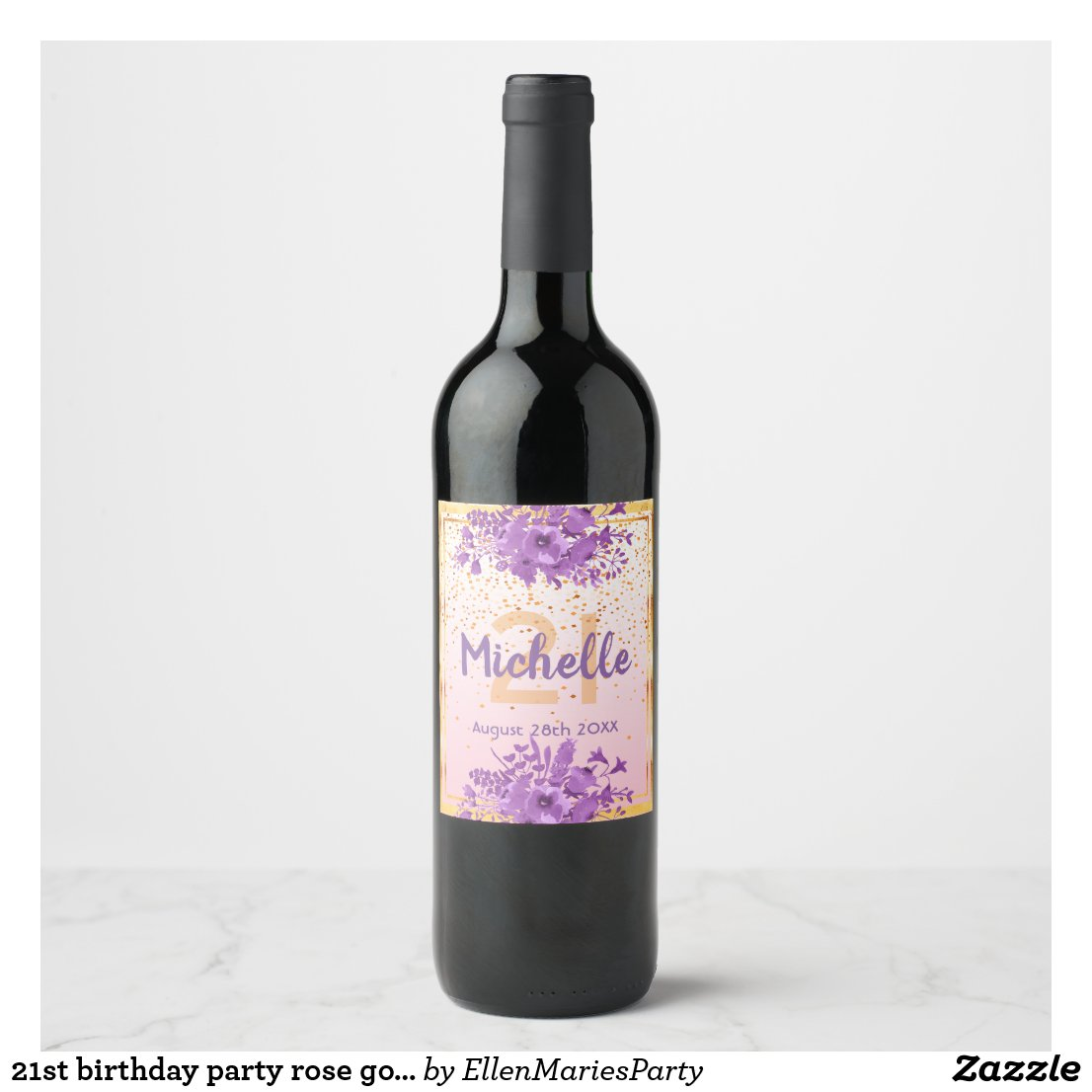 21st birthday party rose gold confetti and flowers wine label