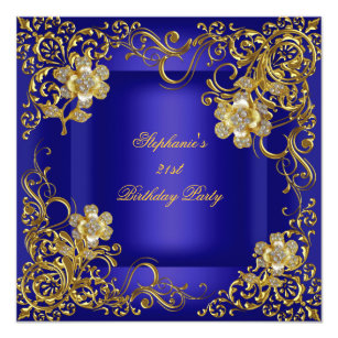 21st Birthday Party Royal Blue Gold Flower Invitation