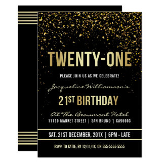 21st Birthday Party | Shimmering Gold Confetti Card