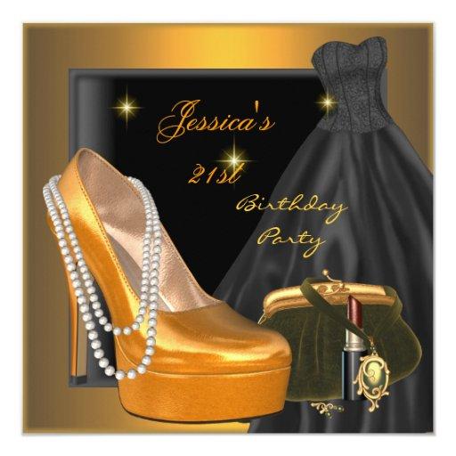 21st Birthday Party Shoe Gold Orange Black Invitation