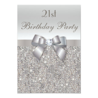 21st Birthday Party Silver Sequins, Bow & Diamond 5x7 Paper Invitation Card
