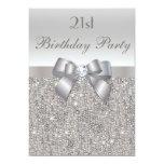 21st Birthday Party Silver Sequins, Bow & Diamond Custom Invitation