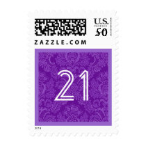 21st Birthday Party Striped Number Colorful Postage