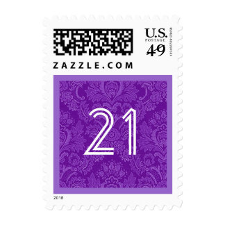21st Birthday Party Striped Number Colorful Stamp