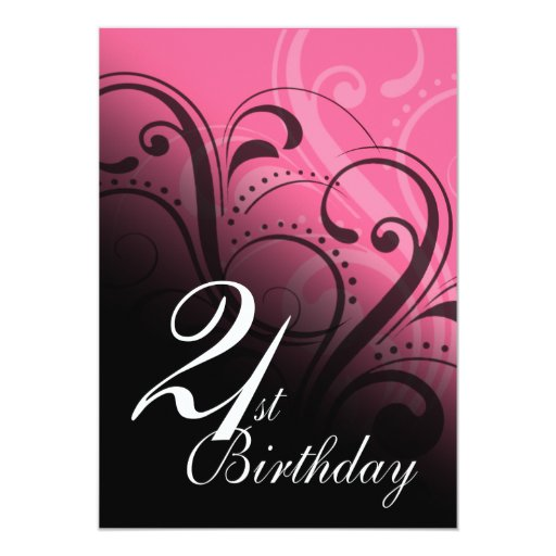 21st Birthday Party Swirl Invites