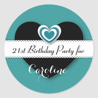 21st Birthday Party Teal and Black Hearts V21R Stickers