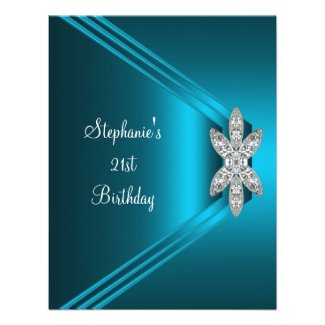 21st Birthday Party Teal Blue Silk Diamond Jewel Announcements