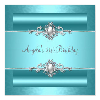 21st Birthday Party Teal Blue Silver Pearl Jewel Card
