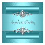 21st Birthday Party Teal Blue Silver Pearl Jewel Announcements