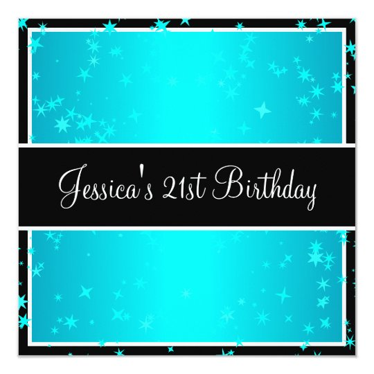 21st Birthday Party Turquoise Stars Black & White Card