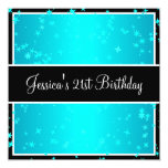 21st Birthday Party Turquoise Stars Black & White Custom Announcement