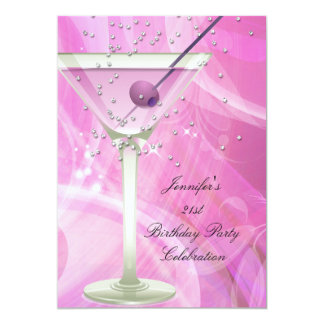 21st Birthday Party White Pink Martini Card