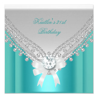 21st Birthday Party White Teal Blue Diamond 5.25x5.25 Square Paper Invitation Card