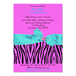 21st Birthday Party, Zebra, black purple turquoise Card