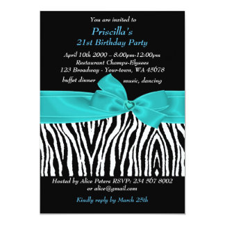 21st Birthday Party, Zebra, black turquoise white Card
