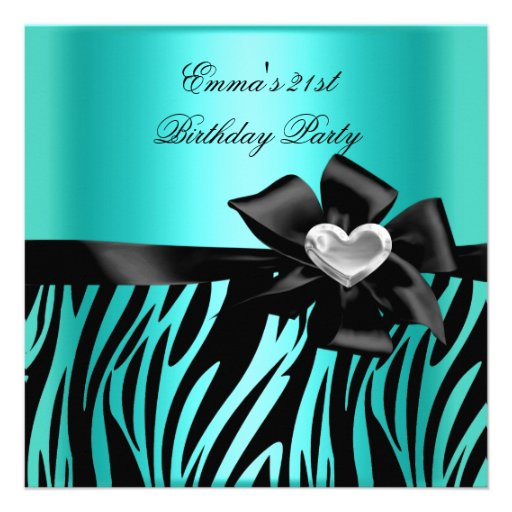 21st Birthday Party Zebra Silver Teal Blue Black Custom Invite