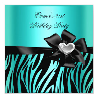"21st Birthday Party Zebra Silver Teal Blue Black 5.25"" Square Invitation Card"