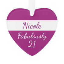 21st Birthday Personalize Fabulously 21 pink Ornament