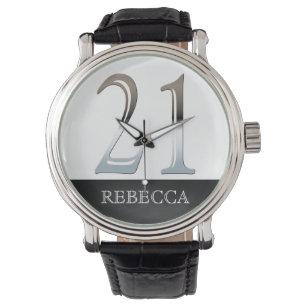 21st Birthday Personalized Chalkboard Number 21 Wrist Watch