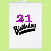 21st Birthday Pink And Black Card