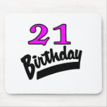 21st Birthday Pink And Black Mouse Pad