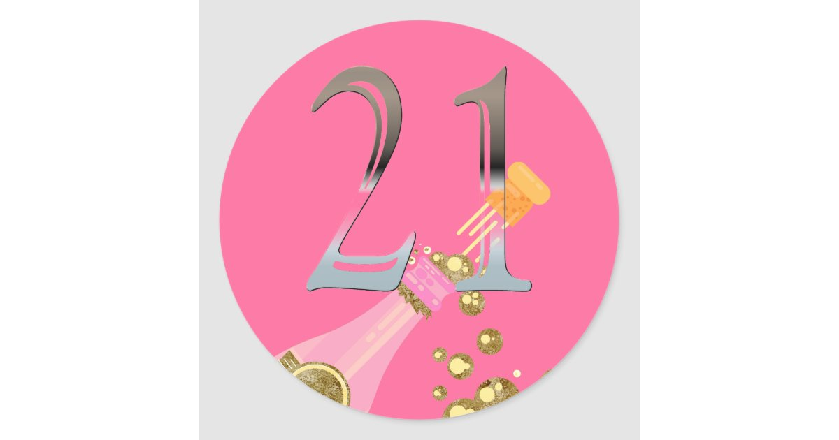 21st Birthday Pink Champagne Silver Number 21 Classic
