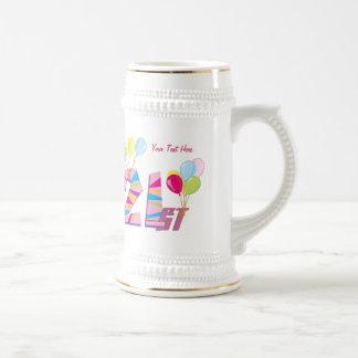 21st Birthday (Pink) Customizable 18 Oz Beer Stein