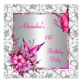 21st Birthday Pink Floral Butterfly Silver White Custom Invite
