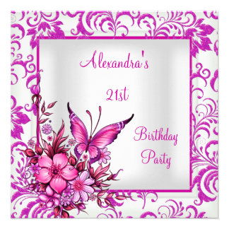 21st Birthday Pink Floral Butterfly Silver White Personalized Invitation