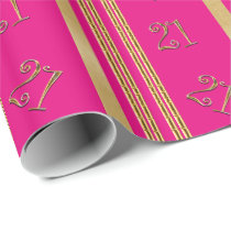 21st birthday pink gold pattern wrapping paper