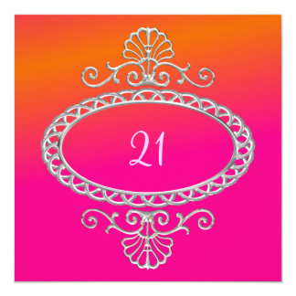 21st Birthday Pink Orange Tie Dye & Silver Metal Card