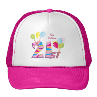 21st Birthday Pink (personalized) Hats