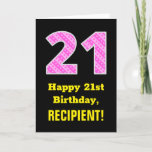 "[ Thumbnail: 21st Birthday: Pink Stripes and Hearts ""21"" + Name Card ]"