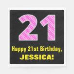 "[ Thumbnail: 21st Birthday: Pink Stripes and Hearts ""21"" + Name Napkins ]"