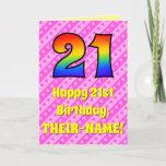 [ Thumbnail: 21st Birthday: Pink Stripes & Hearts, Rainbow # 21 Card ]
