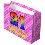 [ Thumbnail: 21st Birthday: Pink Stripes & Hearts, Rainbow # 21 Gift Bag ]