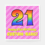 [ Thumbnail: 21st Birthday: Pink Stripes & Hearts, Rainbow # 21 Napkins ]
