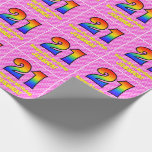 [ Thumbnail: 21st Birthday: Pink Stripes & Hearts, Rainbow # 21 Wrapping Paper ]