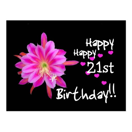 21st Birthday - Pink Tropical Flower and Hearts Postcard