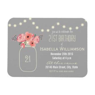 21st Birthday Pink Watercolor Flowers & Mason Jar Magnet