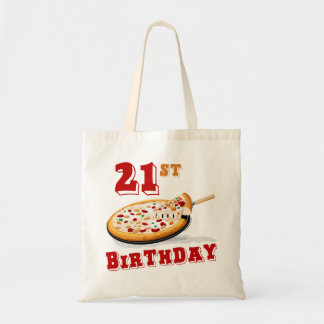 21st Birthday Pizza Party Tote Bags